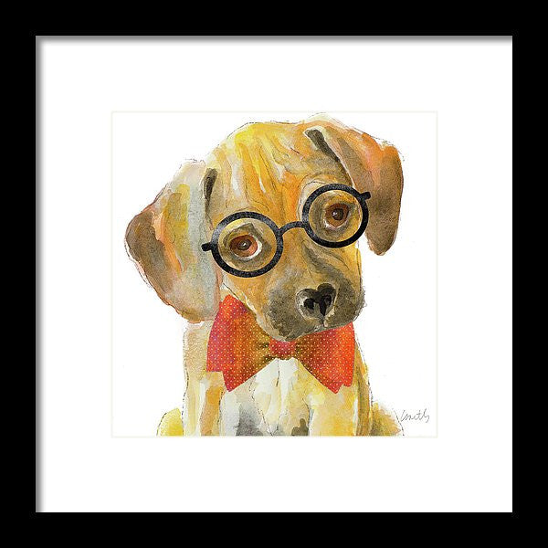 Nerd Pup Square Framed Print by Lanie Loreth