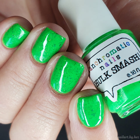 Hulk Smash! Nail Polish - neon green with black & purple flakies - Fanchromatic Nails