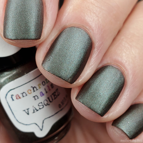Vasquez Nail Polish - mercurial matte grey/green/gold - Fanchromatic Nails
