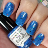 Limited Edition! Quantum Mechanics Nail Polish - bright azure blue with glitter mix - Fanchromatic Nails