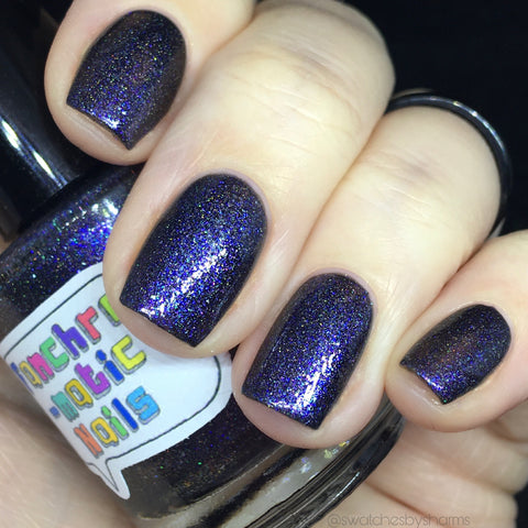 Chivalry In Space Nail Polish - black/blue/indigo iridescent glass fleck - Fanchromatic Nails