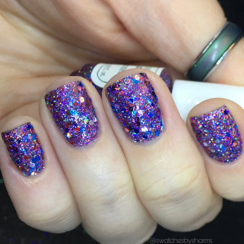 Bright and Bubbly Nail Polish - holographic purple glitter