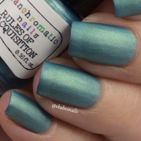 Rules of Acquisition Nail Polish - matte brilliant metallic blue-green - Fanchromatic Nails