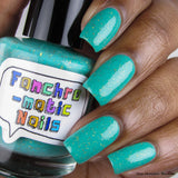 The Wise Build Bridges - matte turquoise blue with gold flakes - fanchromaticnails
