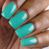 The Wise Build Bridges - matte turquoise blue with gold flakes - Fanchromatic Nails
