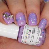 Glimmer Nail Polish - pastel neon violet with pastel glitters - Fanchromatic Nails