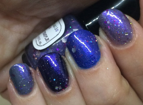 Clearance: Celestial Temple Nail Polish - purple shimmer jelly with holographic glitter - Fanchromatic Nails