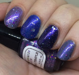 Celestial Temple Nail Polish - purple shimmer jelly with holographic glitter - fanchromaticnails