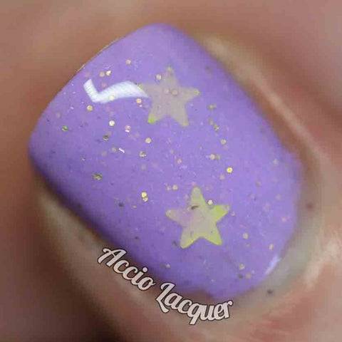 LSP Nail Polish -  bright lavender with gold stars - fanchromaticnails