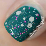 Eleven Nail Polish - grey and pink glitter with color-changing flakes - Fanchromatic Nails