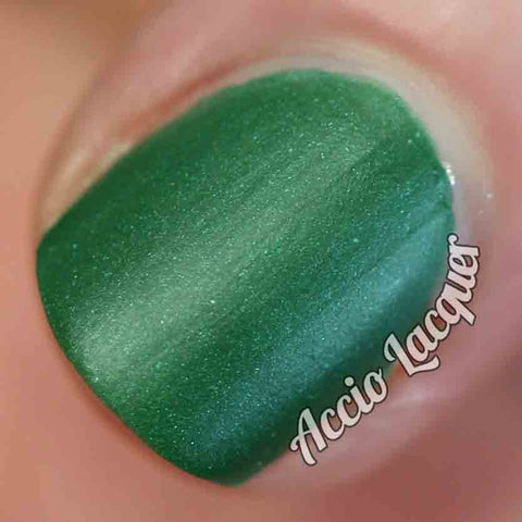 Against All Logic Nail Polish - matte green with blue sparkle - Fanchromatic Nails