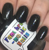 Clearance: There Are Four Lights Nail Polish - black opal with iridescent flakies - Fanchromatic Nails