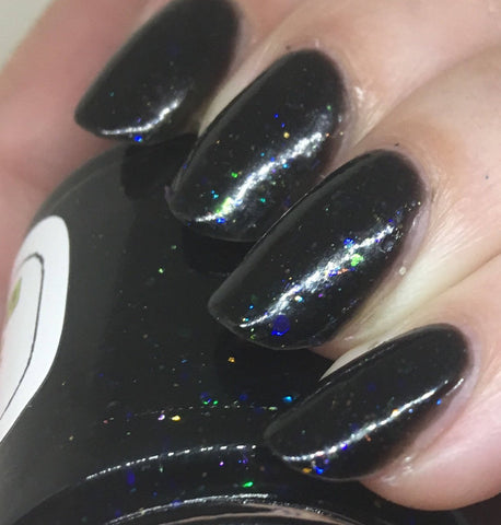 There Are Four Lights Nail Polish - black opal with iridescent flakies - fanchromaticnails