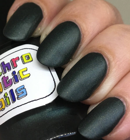 Your Mind is a Walled Garden Nail Polish - dark green matte metallic - fanchromaticnails