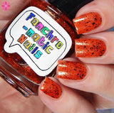 These Violent Delights Nail Polish - flame red/orange with color-shifting flakies - Fanchromatic Nails