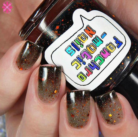 The Maze Nail Polish - thermal black-to-clear with copper holo glitter - fanchromaticnails