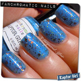 Raptor Girl Nail Polish - azure blue with orange and warm toned glitter - Fanchromatic Nails