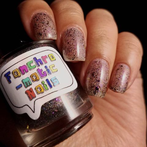 No Such Thing As Overdressed Nail Polish - holographic topper with color-shifting metallic flakes - fanchromaticnails
