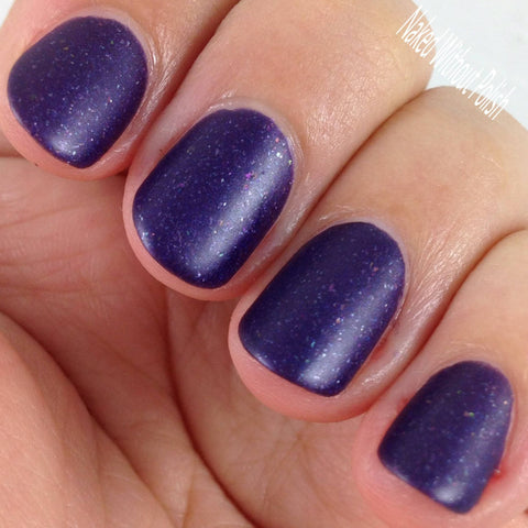 Bow Ties Are Cool Nail Polish - matte metallic purple with metallic flakies - Fanchromatic Nails