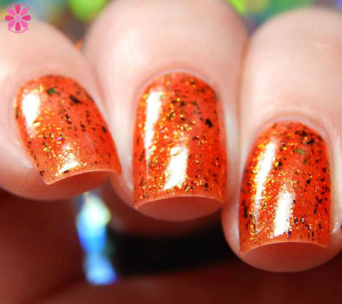 These Violent Delights Nail Polish - flame red/orange with color-shifting flakies - fanchromaticnails
