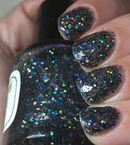 Kneel Before Zod Nail Polish - holographic black glitter - fanchromaticnails