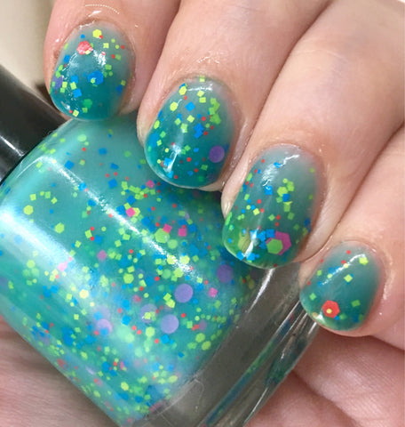 Mathematical! Nail Polish - color changing turquoise to cream with neon glitter - fanchromaticnails