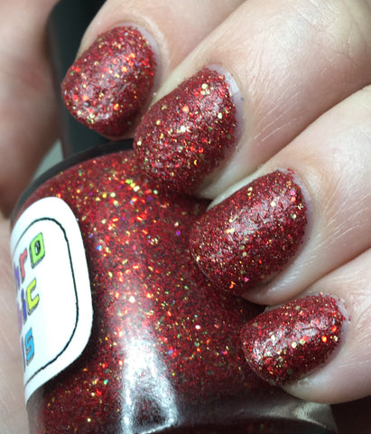 Godric Nail Polish - matte red/gold glitter, Gryffindor House colors