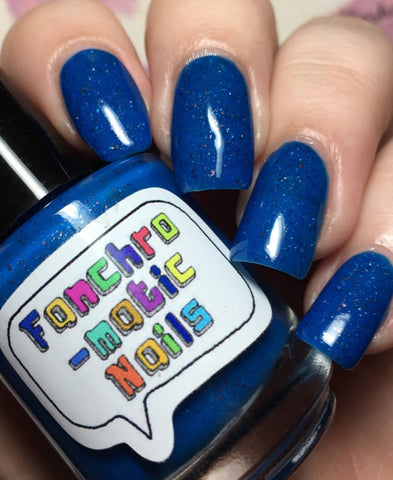 My Dad Was A Space Pirate Nail Polish - deep neon blue jelly with flakies - fanchromaticnails