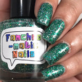 Salazar Nail Polish - green/silver glitter, same colors as Slytherin House - fanchromaticnails
