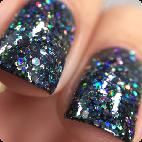 Kneel Before Zod Nail Polish - holographic black glitter - Fanchromatic Nails