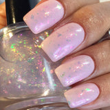 You Have No Power Over Me Nail Polish - opalescent aurora flakie top coat - fanchromaticnails