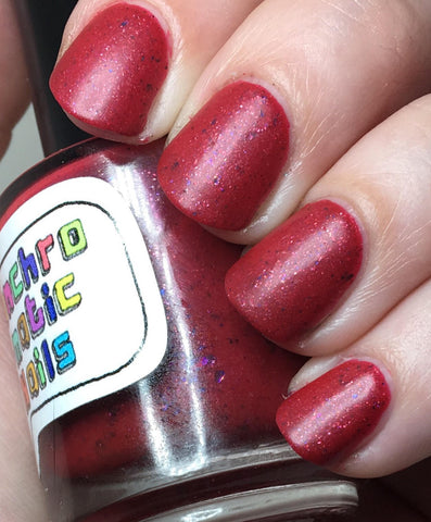 Sausage King of Chicago Nail Polish - satin-finish bright rose pink with flakies - Fanchromatic Nails
