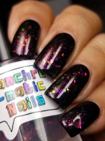 You Have No Power Over Me Nail Polish - opalescent aurora flakie top coat - Fanchromatic Nails