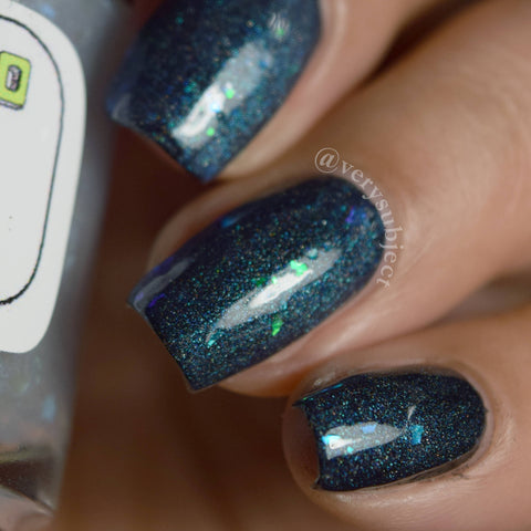 Wrapped In Plastic Nail Polish - matte iridescent flakie top coat - Fanchromatic Nails
