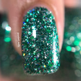 Salazar Nail Polish - green/silver glitter, same colors as Slytherin House - Fanchromatic Nails