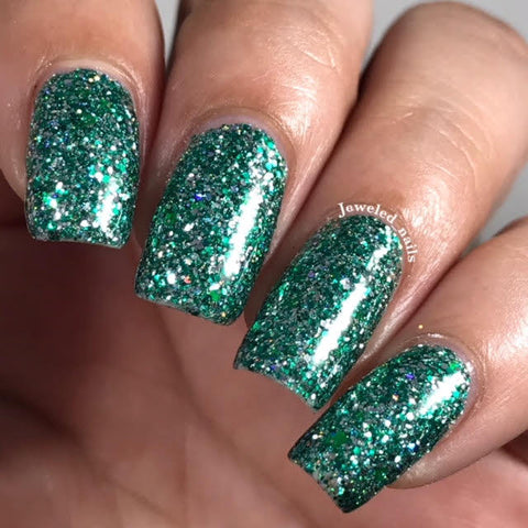 Salazar Nail Polish - green/silver matte glitter, same colors as Slytherin House - fanchromaticnails
