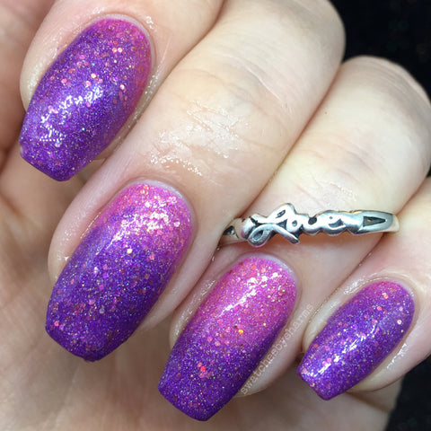 More Human Than Human Nail Polish - pink-purple holo thermochromic - fanchromaticnails