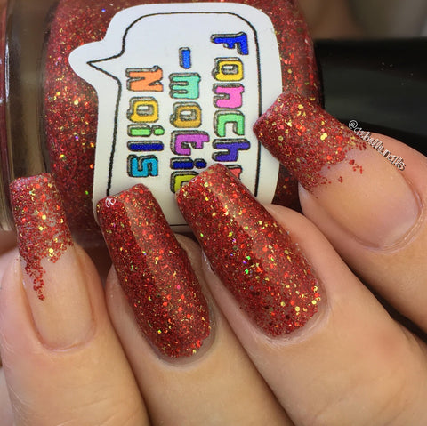 Godric Nail Polish - matte red/gold glitter, Gryffindor House colors - fanchromaticnails