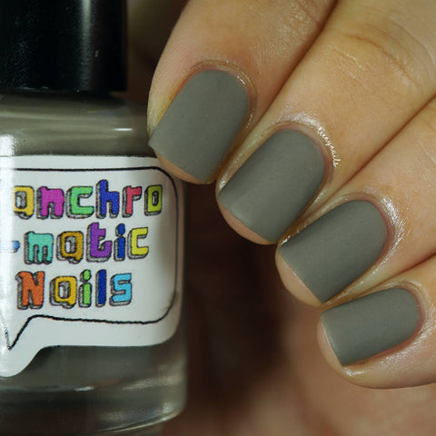 A Shortcut to Mushrooms Nail Polish - matte earthy grey - fanchromaticnails