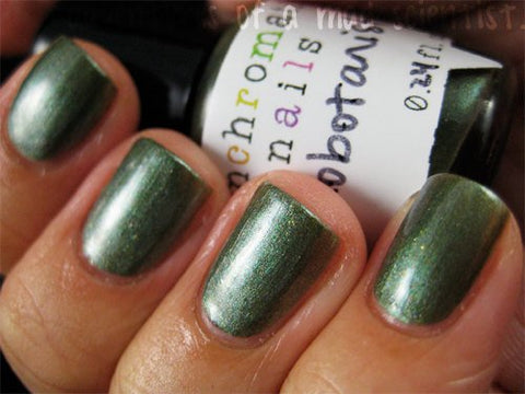 Xenobotanist Nail Polish - rich green with multichromatic shimmer - Fanchromatic Nails