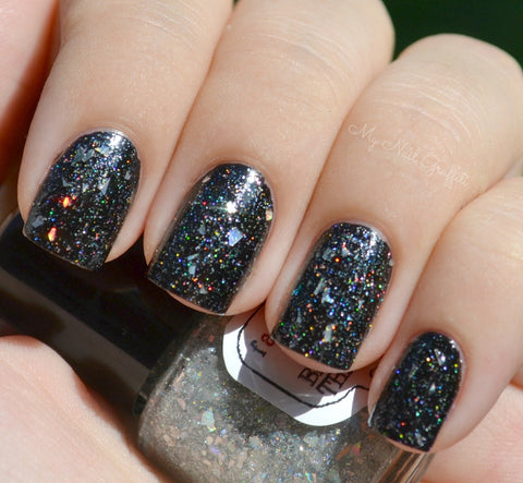 Broken Holo Theory Nail Polish - shredded holographic silver top coat