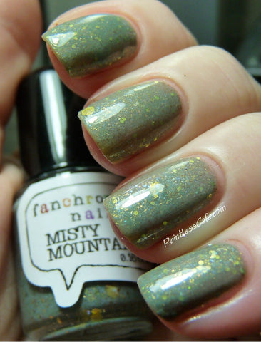 Misty Mountains Nail Polish - sage green with iridescent shimmer and gold glitter - fanchromaticnails
