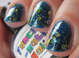 Save the Princess Nail Polish - deep blue jelly with gold and silver glitter - Fanchromatic Nails