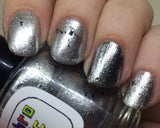 Witness Me Nail Polish - shiny and chrome with black shreds - Fanchromatic Nails