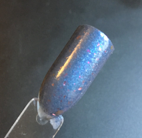 Fantasia Nail Polish - dusty blue/purple with shifting rainbow flakes - Fanchromatic Nails