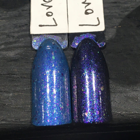LIMITED EDITION! Love Me & Despair Nail Polish - teal blue iridescent flake jelly - Fanchromatic Nails