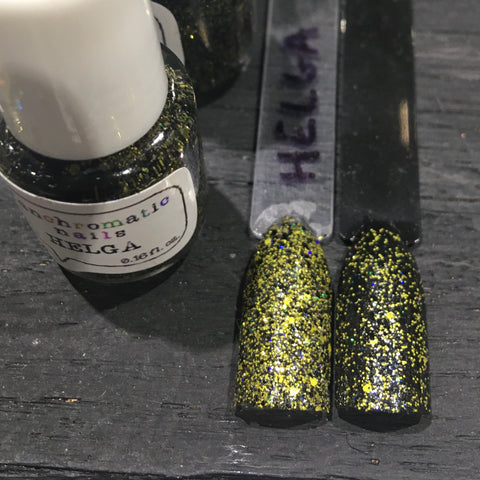 Helga Nail Polish - yellow/black glitter, same colors as Hufflepuff House - Fanchromatic Nails