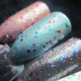 Rainicorn Nail Polish - translucent rainbow glitter top coat - Fanchromatic Nails