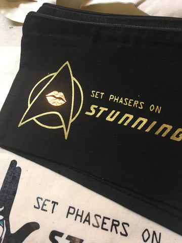 Set Phasers on Stunning - customized zippered cosmetics bag - Fanchromatic Nails