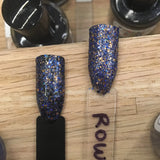 Rowena Nail Polish - blue/bronze glitter, same colors as Ravenclaw House - Fanchromatic Nails